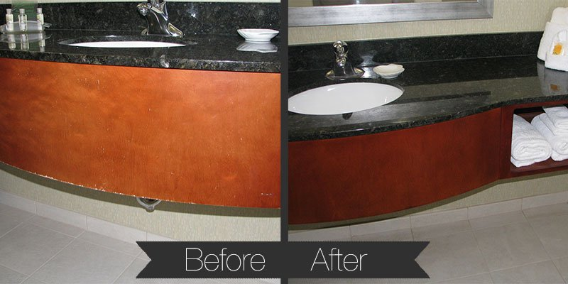 Peeling and cracked vanity finish, accelerated by bathroom moisture, restored to like-new with complete on-site refinish with HVLP technology.